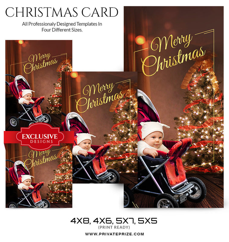 Christmas Card newborn - Photography Photoshop Templates