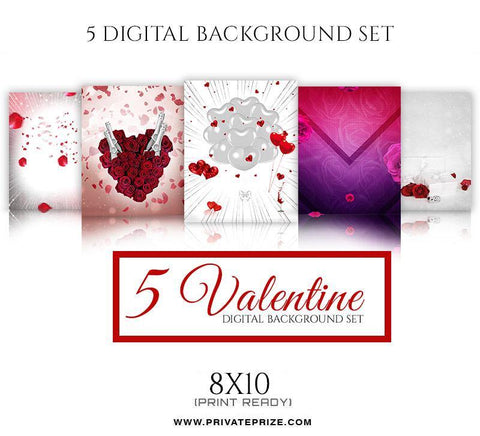 5 Valentines Digital Background Set - Photography Photoshop Template