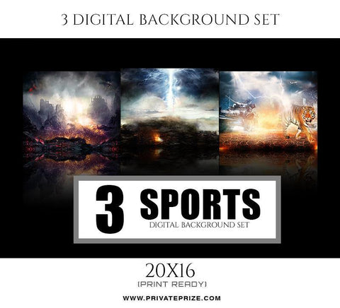 3 Sports Digital Background Set - Photography Photoshop Template