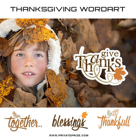 Thanksgiving Word Art Set 2 - Photography Photoshop Template