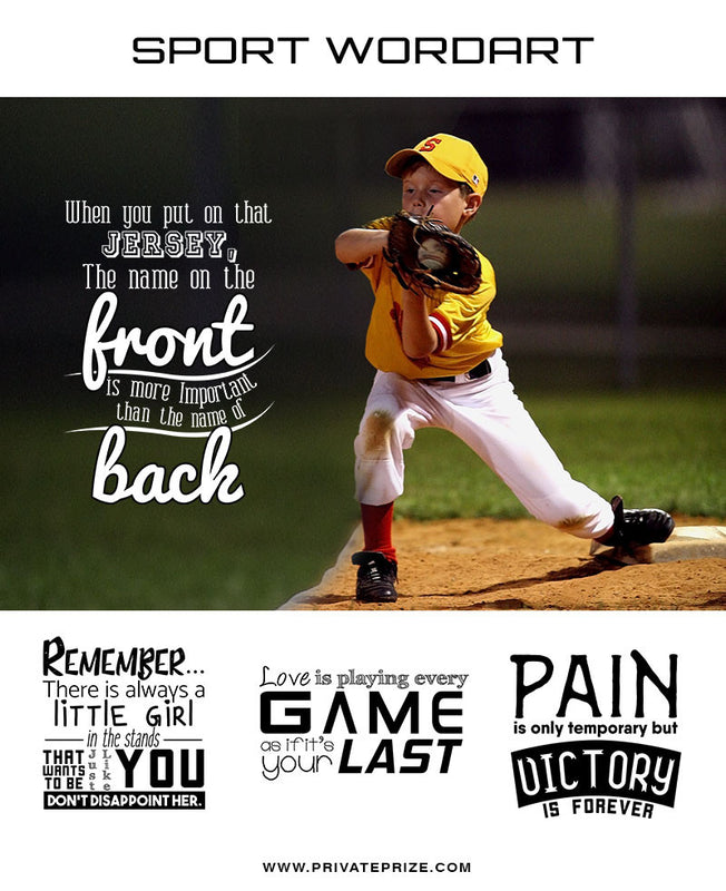 Sports Word Art Overlays - Put On That Jersey - Photography Photoshop Templates