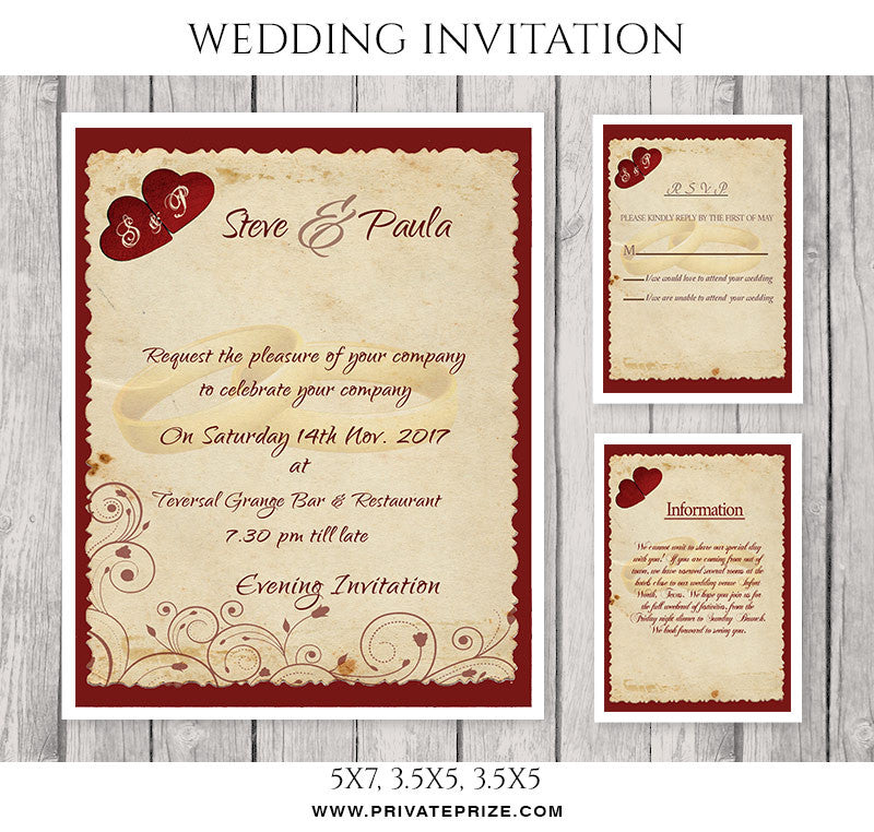 Steve And Paula Wedding Invitation Card