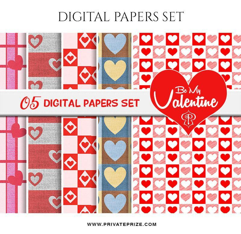 Be My Valentine Paper Texture Digital Paper Pack