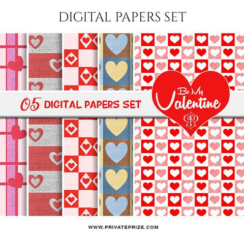 Be My Valentine Paper Texture Digital Paper Pack - Photography Photoshop Template