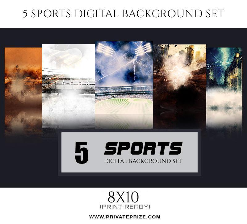 5 Sports Digital Background Set - Photography Photoshop Template