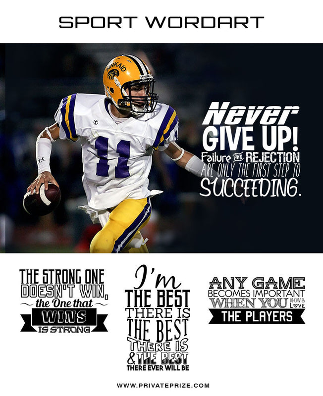Sports Word Art Overlays - Never Give Up - Photography Photoshop Templates