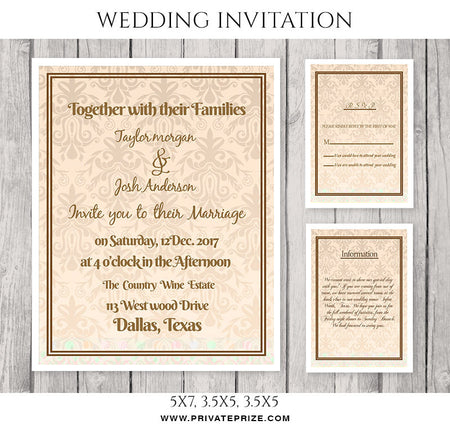 Taylor&Josh Wedding Invitation Card - Photography Photoshop Template