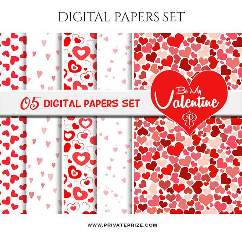 Be My Valentine's - Paper Texture Digital Paper Pack - Photography Photoshop Template