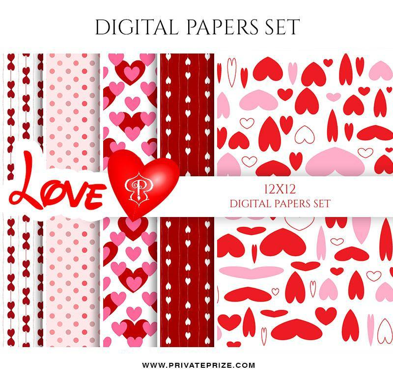 Valentine's Love - Paper Texture Digital Paper Pack - Photography Photoshop Template