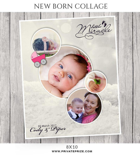 A Little Miracle -New Born Collage - Photography Photoshop Template