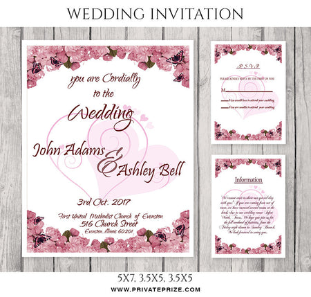 John and Ashley Wedding Invitation Card - Photography Photoshop Template