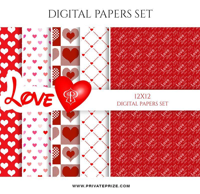 Love - Valentine's Paper Texture Digital Paper Pack - Photography Photoshop Template