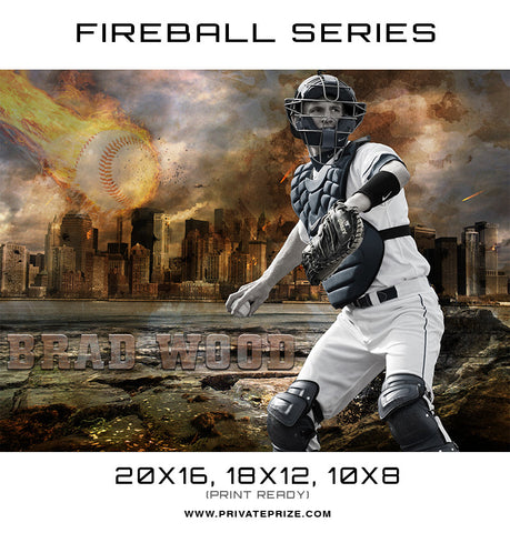 Brad Wood Baseball - Sports Fireball Series - Photography Photoshop Templates