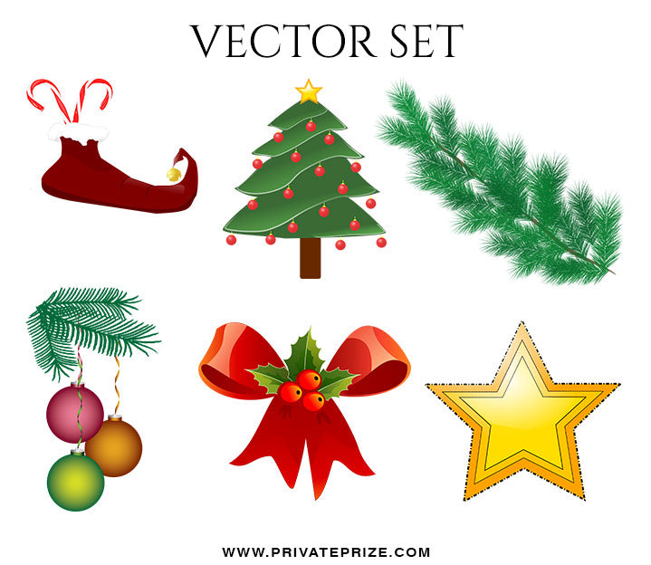 Christmas  Vector Graphics Set - Photography Photoshop Template