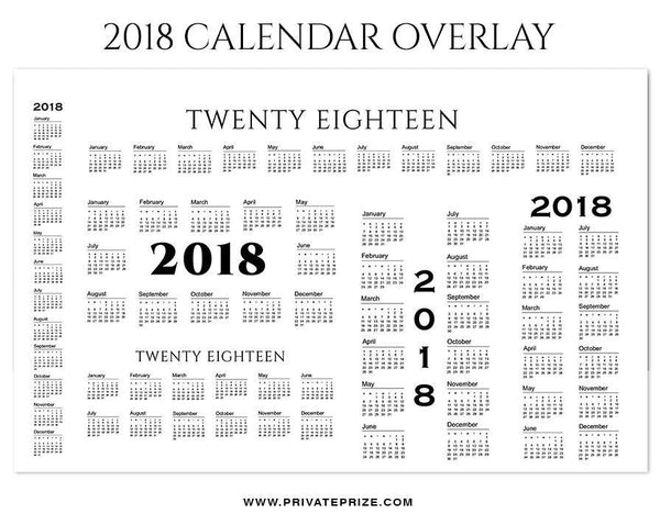 2018 Signature Calendar Overlays - Photography Photoshop Template