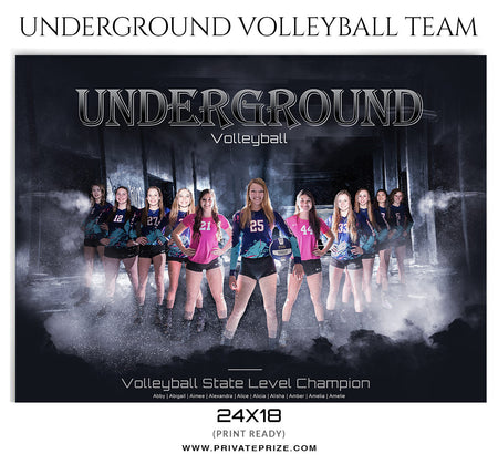 Underground VolleyBall Themed Template - Photography Photoshop Template