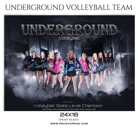 Underground VolleyBall Themed Template - PrivatePrize Photography Photoshop Templates