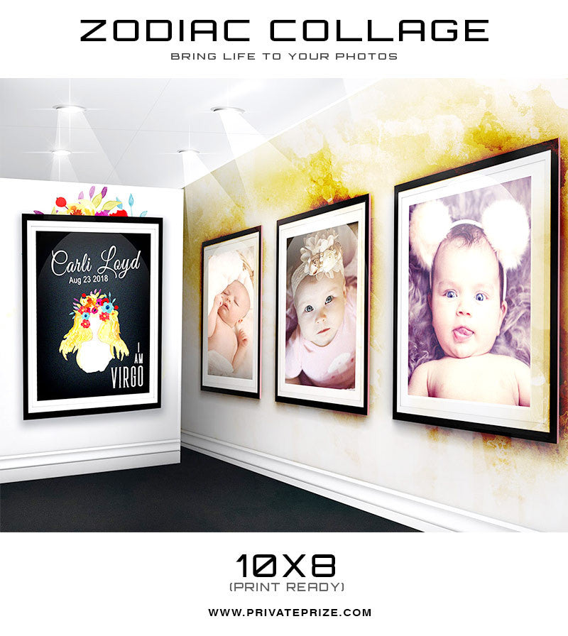 Zodiac - Virgo 3D Wall Collage - Photography Photoshop Templates