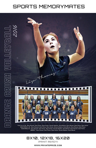 Orange Crush Volleyball - Sports MemoryMate Photoshop Template