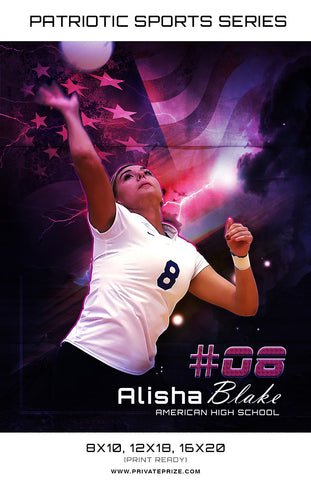 Volleyball - Sports Patriotic Series - Photography Photoshop Templates