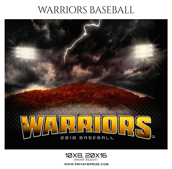 Warriors Baseball Themed-Photography Sports Template - Photography Photoshop Template