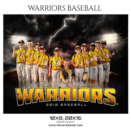 Warriors Baseball Themed-Photography Sports Template