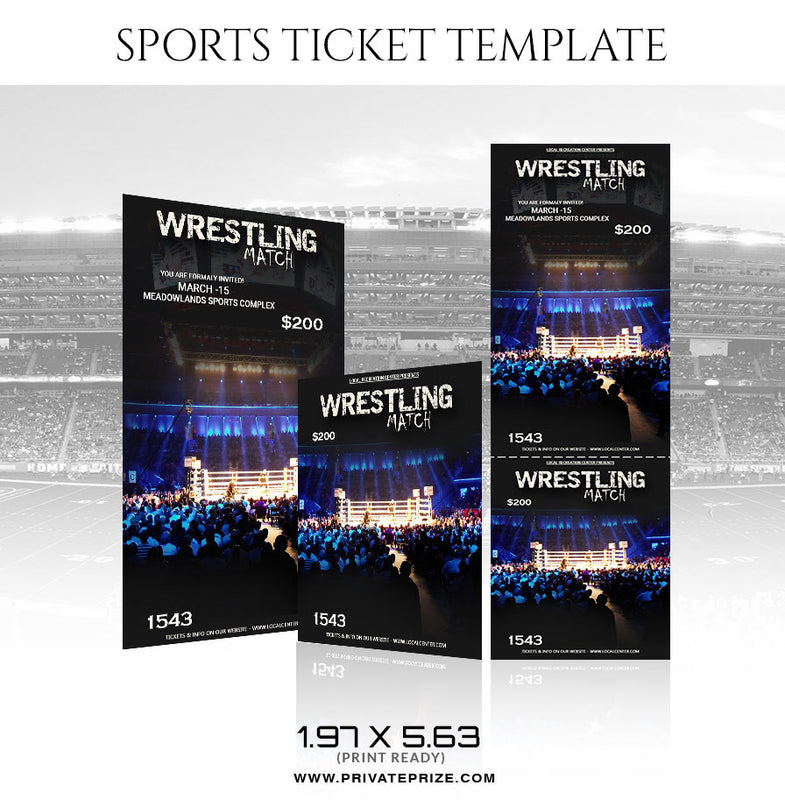 Wrestling Sports Ticket Template