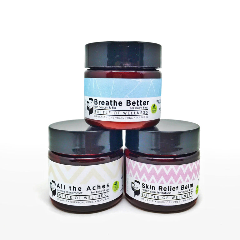 The Trio (any 3 balms) - Bottle of Wellness | HOMEMADE & NATURAL WELLNESS IN A BOTTLE. NO NASTIES!