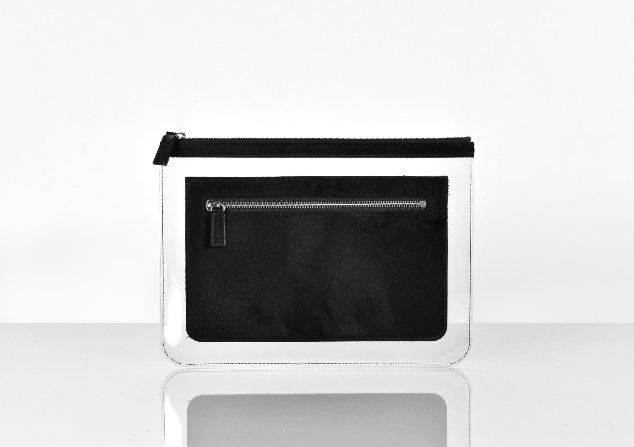 Barnett Clutch black hairy leather