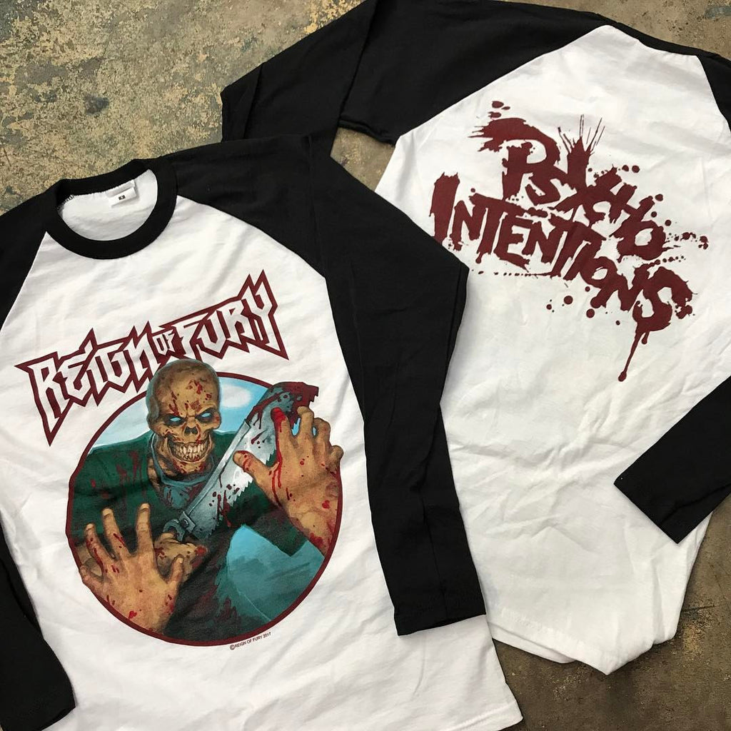 Reign of Fury. Sick 8 colour print run on baseball shirts!