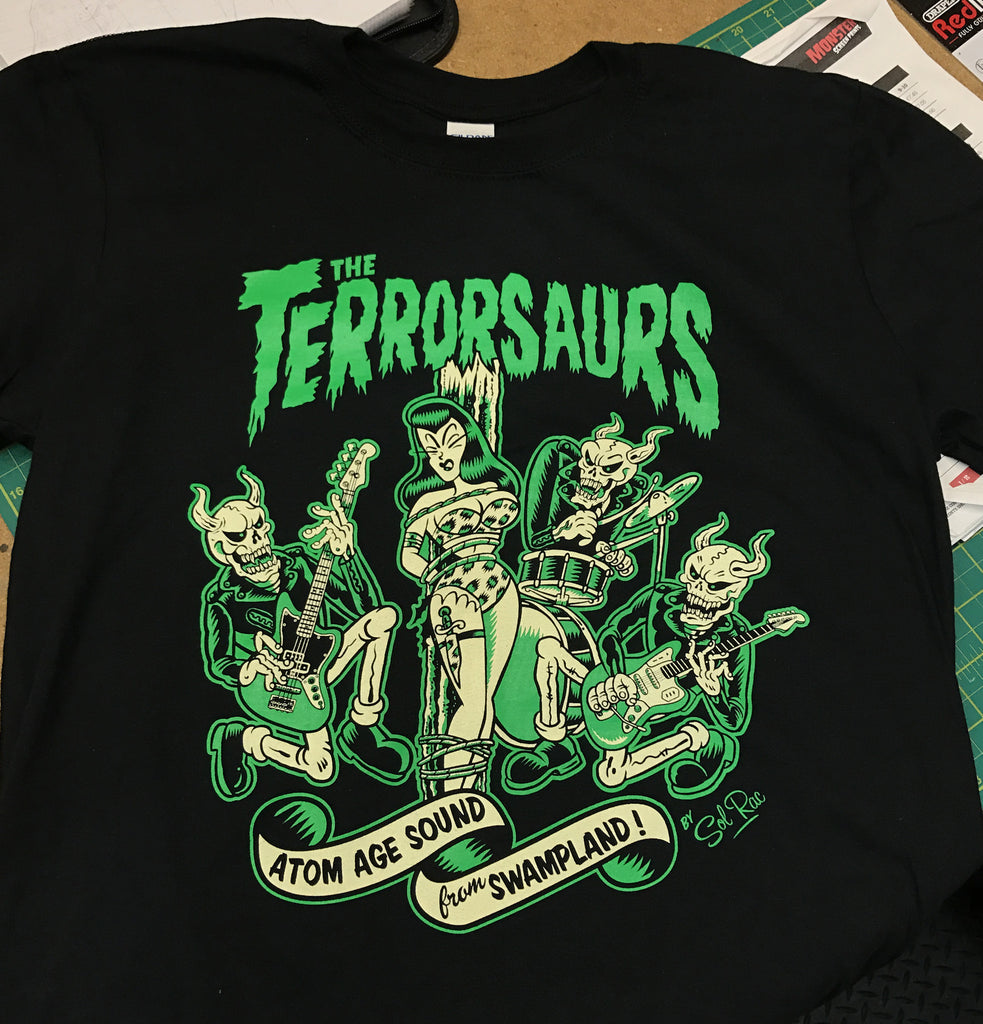 Latest offering from  'The Terrorsaurs'. Beautiful artwork in a cream and 'swamp' green.