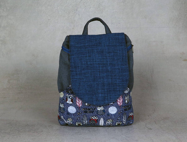 The Small Backpack- Blue And Owl Kids Backpack