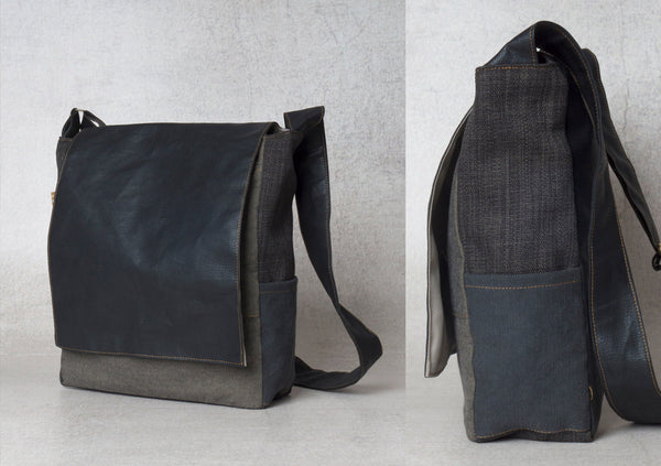 The College Bag- Sky Black Vegan Shoulder Bag
