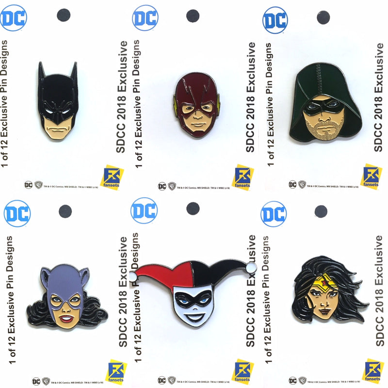 San Diego Comic Con 2018 Warner Bros Bags and Pins Revealed and FanSets site EXCLUSIVES