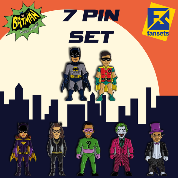 DC Comics Batman 1966 Collection BATMAN 7 PACK Licensed FanSets Pin MicroJustice
