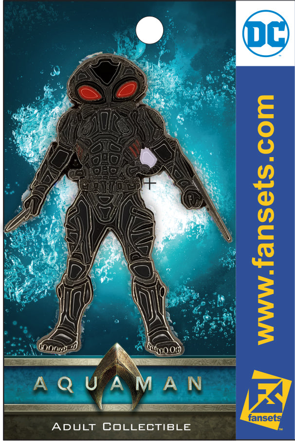 DC Comics AQUAMAN MOVIE BLACK MANTA Licensed FanSets Pin MicroJustice