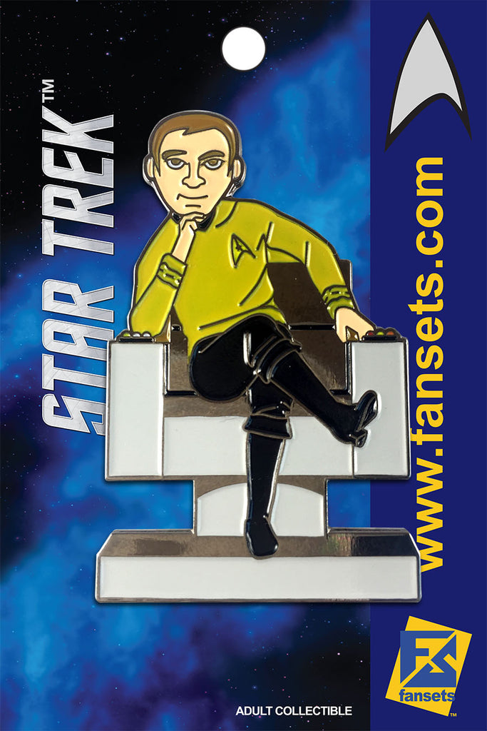 Star Trek CAPT KIRK in CHAIR Licensed FanSets MicroCrew Collector's Pin