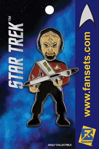 Star Trek Mr. WORF SEASON 1 TNG W/ Phaser Rifle Licensed FanSets MicroCrew Collector's Pin