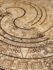 Aztec Calendar Wooden Notebooks