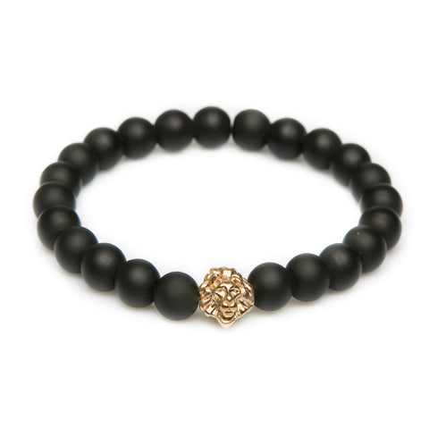 Black Agate Leo - Gold