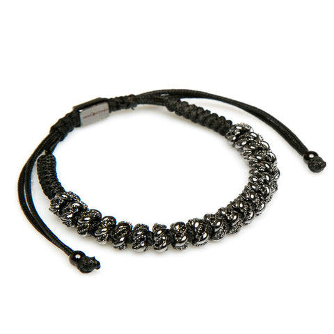 Black Coiled Stoppers Macrame Bracelet