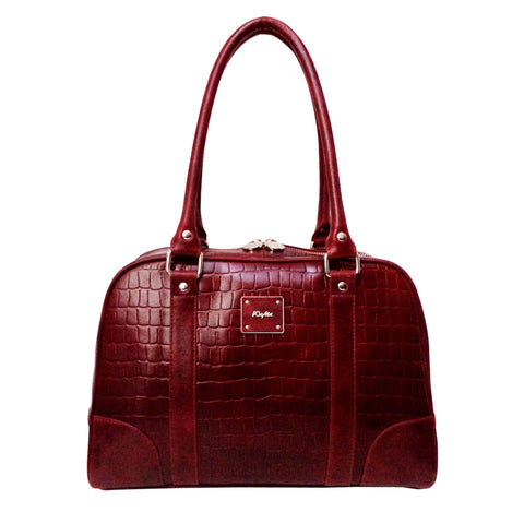 Victoria Genuine Leather Croco Women Red Shoulder Bag