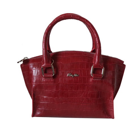 Elle Genuine Croco Leather Women Red HandBag
