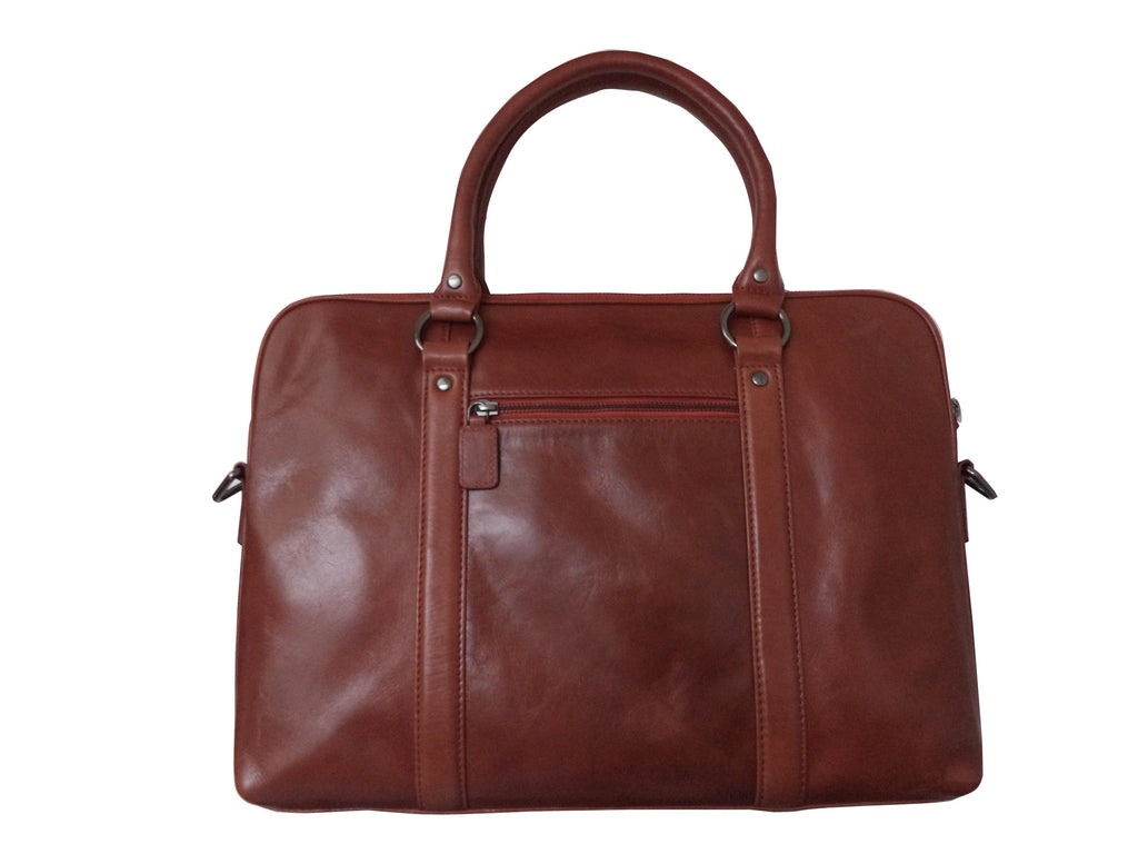 River Genuine Leather Unisex Red Laptop Bag