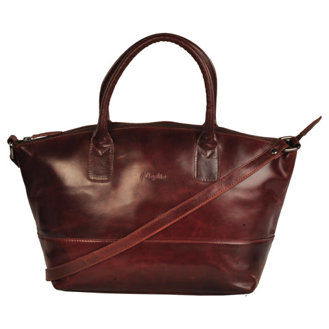 Victoria Genuine Leather Women Brown Oily Shoulder Bag
