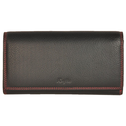 Paris Genuine Waxy Women Black Clutch Wallet