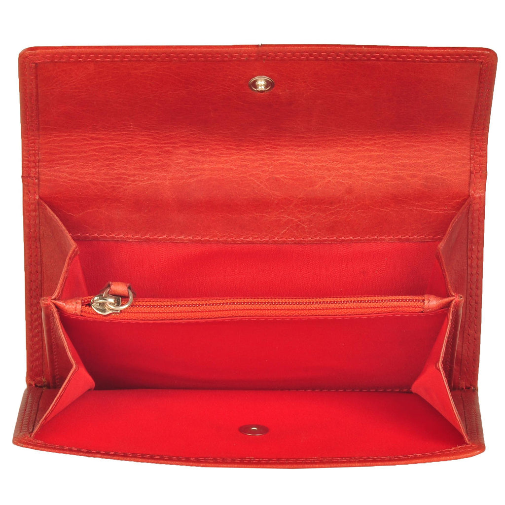 Paris Genuine Waxy Women Red Classic Clutch Wallet