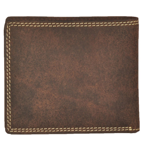 Boston Genuine Oily Leather Men Brown Billfold Wallet