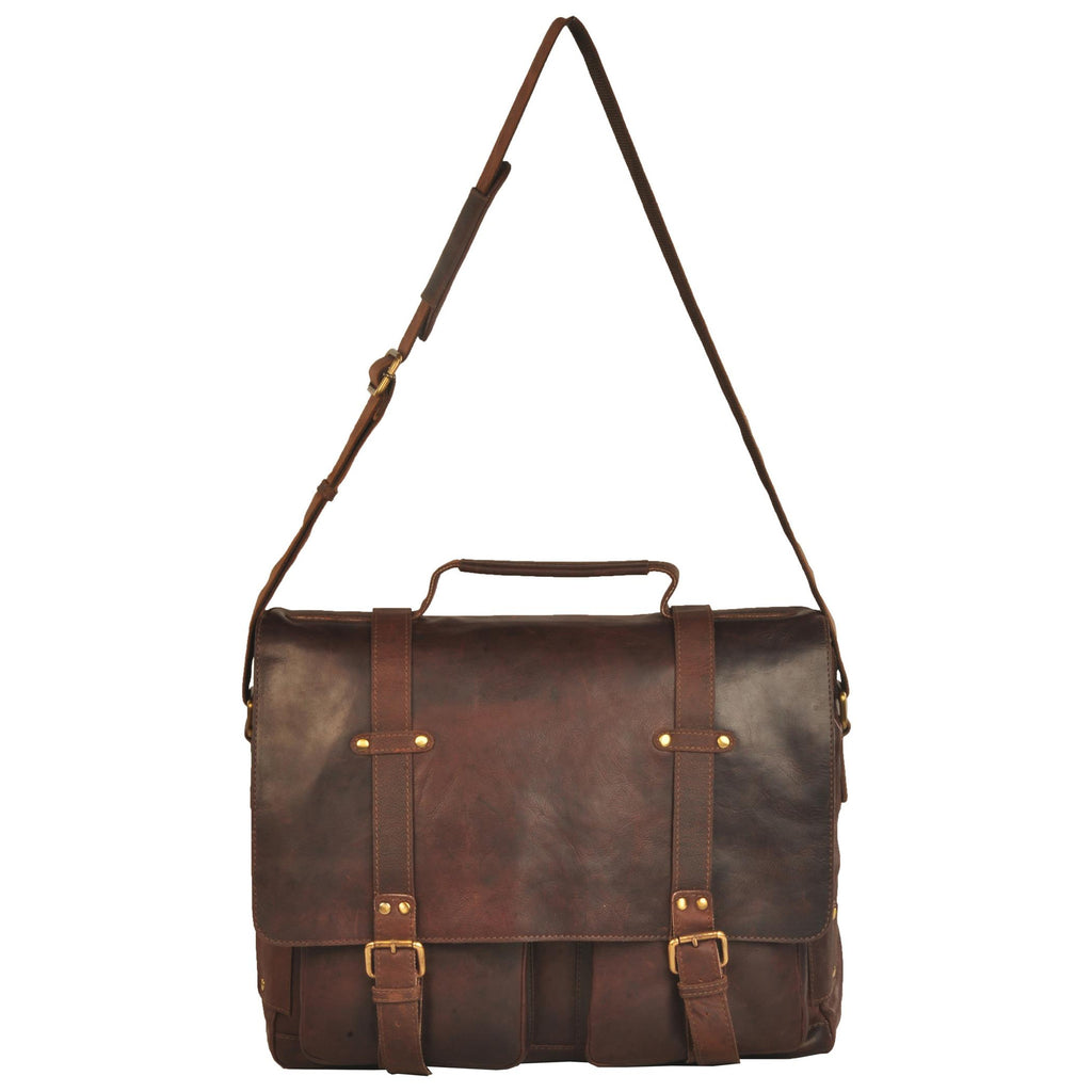Manhattan Genuine Leather Men Brown Oily Portfolio Bag