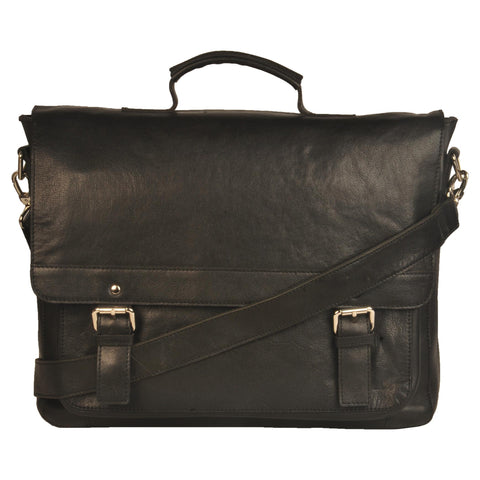 Manhattan Genuine Leather Men Black Waxy Portfolio Bag